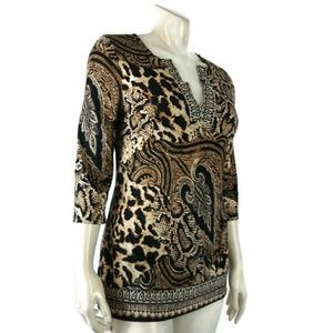 Womens BOSTON PROPER Tunic Animal Print M Blouse